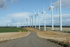 gravel road with turbines